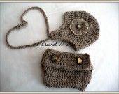 ENSEMBLE BONNET + CACHE COUCHE ACCESSOIRES IDEAL PHOTOS BEBE : Mode Bébé par le-crochet-d-isa