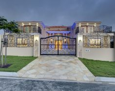 Beautiful Iron Gate for Safety and Beauty of Your Home Design : Appealing Brick Driveway Gates And Wrought Iron Garden Gates Plus Iron Fence...