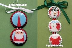 Homemade Christmas Ornaments Bottle Cap Art