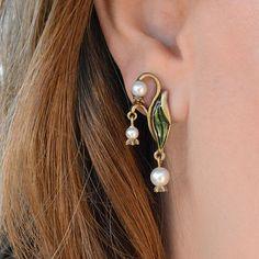 Lily of the Valley Earrings, Wedding Earrings, Pearl Bridal Earrings, Wedding…