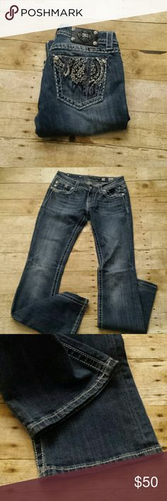 """Miss Me Boot Cut Bling Jeans! Miss Me Boot Cut Bling Jeans! Size 28, inseam 33"""". EUC. Miss Me Jeans Boot Cut"""