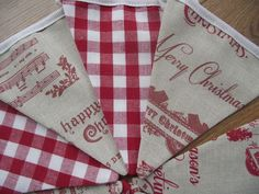 CHRISTMAS BUNTING Handmade FRYETTS VINTAGE XMAS LAURA ASHLEY Red Gingham Fabric