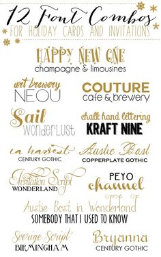 12 Font Combos FOR HOLIDAY CARDS AND INVITATIONS tjn