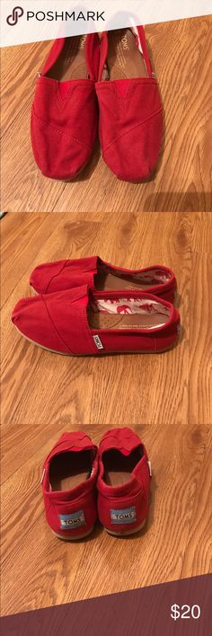 Red Toms size 7 These are in good condition, size 7.   Tags: BKE, lucky, Hudson, Paige, buckle, true religion, miss me, joe's, Abercrombie, hippie, rock revival, 7 for all mankind, seven, Levi's, silver, old navy, gap, children's place, Mossimo, American eagle, cremieux, under armour, Vince camuto, Aeropostale, Patagonia, fossil, Michael kors, Northface, Tory Birch, flats TOMS Shoes Flats & Loafers