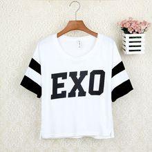 Cotton t shirts Summer new female loose short-sleeved t-shirt Korean idol kpop star EXO same style casual t shirt tee for women(China (Mainland))