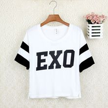 Cotton t shirts Summer new female loose short-sleeved t-shirt Korean idol kpop star EXO same style casual t shirt tee for women(China (Mainland))