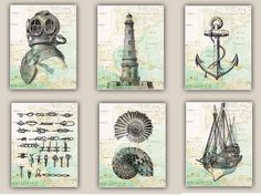 Nautical map art Prints for coastal living and beach by PrintLand, $64.00