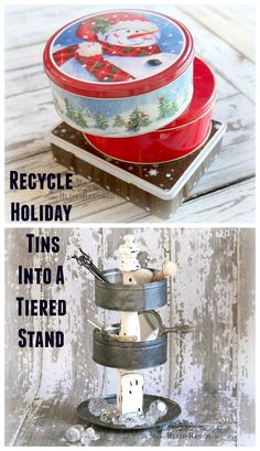 Holiday Tins Recycle Into Tiered Stand Bliss-Ranch.com
