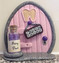 Polymer Clay Fairy Door - Pink Tooth Fairy (Made To Order)