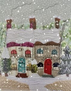Wild flowers, birds and street scenes made using free-motion embroidery and applique