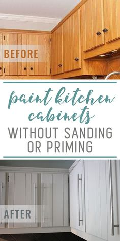 How To Paint Kitchen Cabinets Without Sanding or Priming – Step by Step OMG! This is the best kitchen cabinet painting tutorial out there. You can paint your kitchen cabinets without sanding OR priming! You don't even have to empty your cabinets to do it Update Kitchen Cabinets, Kitchen Paint, New Kitchen, Kitchen Ideas, Restaining Kitchen Cabinets, How To Paint Kitchen Cabinets White, Kitchen Cabinet Styles, Eclectic Kitchen, Kitchen Modern