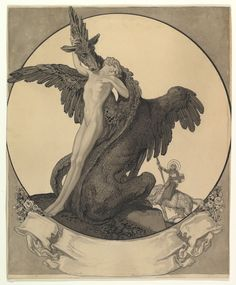 Franz von Bayros | Study for a Bookplate with St. George Rescuing a Maiden from a Dragon | The Met