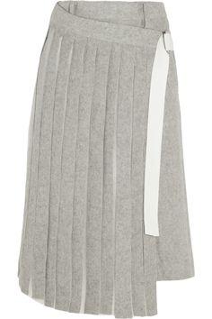 Sacai|Pleated chiffon-paneled wool-blend felt shorts|NET-A-PORTER.COM