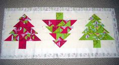 Christmas in July ~ Christmas Tree Table Runner Christmas Tree On Table, Christmas Runner, Christmas Table Decorations, Holiday Tree, Christmas In July, Holiday Fun, Christmas Sewing Projects, Christmas Crafts, Christmas Quilting