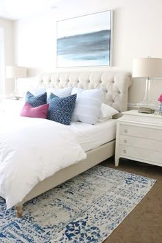 Master bedroom with neutrals, blues and a pop of bold color. See the full home tour with product links! Designlovesdetail.com
