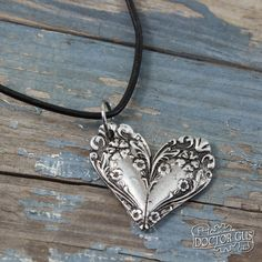 Beautiful Jewelry Ornate Spoon Heart Necklace - Flowery Pendant - Inspired by Antique Victorian Silverware - Doctorgus Handmade Pewter Jewelry - Cute Boho by doctorgus on Etsy - Jewelry Crafts, Jewelry Art, Handmade Jewelry, Silver Jewelry, Jewellery Box, Antique Jewelry, Jewellery Shops, Damas Jewellery, Vintage Jewelry