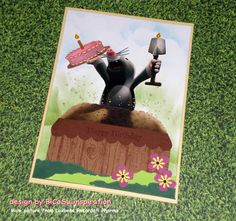 Geburtstagskarte aus alter Werbung - Maulwurf von Laxbene Recordati Pharma - Happy Birthday Cards - Advertising Mole from Laxbene Recordati Pharma - Kuchenstempel von Stampin up - Cakes stamp from stampin up.