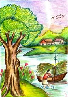 Colour pencil drawing images of nature Simple Nature Drawing, Beautiful Scenery Drawing, Scenery Drawing For Kids, Nature Sketch, Beautiful Images, Pencil Drawing Images, Pencil Drawings Of Nature, Landscape Drawings, Love Drawings