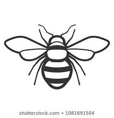 #simple #bee #stencil Bee Outline, Butterfly Outline, Animal Outline, Bee Stencil, Stencils, Bee Embroidery, Embroidery Patterns, Honey Bee Drawing, Bee Template