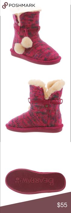 ✨NWT✨ Bearpaw Mary Girl's Boot Take your girl's fashion to the next level in our Mary Girl's Boot from Bearpaw! The amazing quality and design will keep her feet warm, happy and stylish all winter long! This fun 6.5″ unstructured convertible slipper bootie in marled knit with a fold over collar is appropriate for inside or outside wear. Fits true to girl's sizing. Product Details:  6.5″ tall Marled knit covertible slipper bootie Fold over collar with pom pom tie detail Wool blend lining…