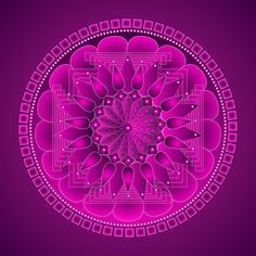 'Chakra Mandala Magenta' by Sarah Niebank Purple Hues, Magenta, Pink Purple, Hot Pink, Magical Pictures, Doodle Patterns, Pink Room, All Things Purple, Heart Chakra