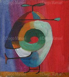"""""""Gorrita"""", acrylic on canvas, 14 x 13 cm. year 2007 . By Diego Manuel"""