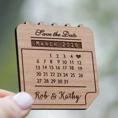 Calendar Save the Date Magnets - Laser cut and Etched on Wood || Selected by Finepointwedding.com