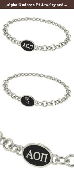 Alpha Omicron Pi Jewelry and Silver Bracelets. Our Alpha Omicron Pi sorority jewelry and bracelets are made in solid sterling silver with a high quality sterling silver Antiqued charm. Our bracelets have the finest detail and are the highest quality of any Alpha Omicron Pi sorority bracelet available. In stock for fast shipping and if for some reason you don't like it? Send the bracelet back for a full refund..... Alpha Omicron Pi Silver Jewelry - Silver Link Bracelet.... Metal: Sterling...