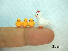 White Hen And Yellow Chicks  - Micro Crocheted Chickens - Set of Four Chickens - Made To Order. , via Etsy.