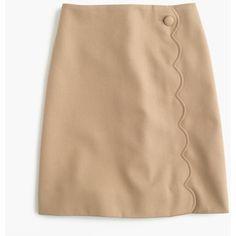 J.Crew Scalloped Skirt ($130) via Polyvore featuring skirts, petite, petite skirts, long beige skirt, panel skirt, scalloped skirt and scallop hem skirt