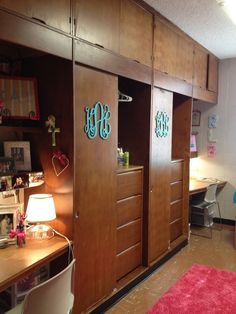 dorm room monogram, and yes, that little door is your closet...that is it. And four drawers.  Organization is the key here