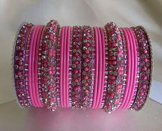Pink Color Indian Designer Bangles Set Women by Shoppingover