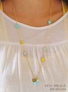 DIY Necklace Long Gold Blue