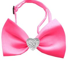Clear Crystal Heart Chipper Dog Bow Tie :: Hot Pink