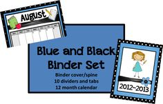 Classroom Freebies Too: Blue/Black Binder Set