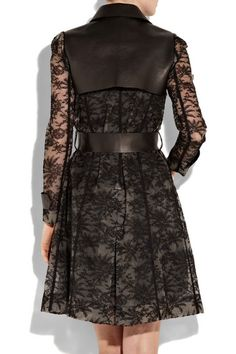 leather and lace clothing   Valentino leather and Chantilly lace trench coat - Clothes Fashion