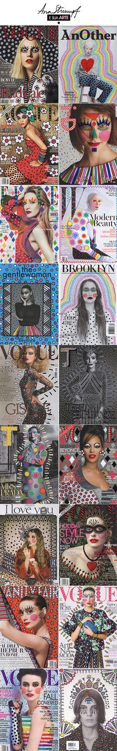 cover design set | Fashion magazine covers brilliantly electrified by Brazilian interior designer Ana Strumpf