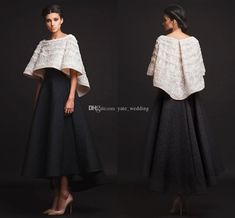 Two Pieces Evening Dresses Women Formal Gown With A Line Scoop Hi-Lo Black White Prom Pageant Party Gowns Two Piece Evening Dresses, White Evening Gowns, Long Sleeve Evening Dresses, Long Sleeve Short Dress, Prom Dresses With Sleeves, Two Piece Gown, Sleeve Dresses, Best Formal Dresses, Formal Dresses Online