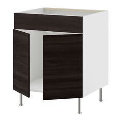 AKURUM Base cb f sink w 2 drs/2 fascia pan - birch effect, Gnosjö wood effect black, 30