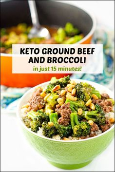 This easy keto ground beef and broccoli recipe is not only delicious but you can make it in 15 minutes! Just add some cauliflower rice and you have a great low carb weeknight meal. Only 5.1g net carbs per serving. Keto Beef And Broccoli Recipe, Ground Beef And Broccoli, Beef Broccoli Stir Fry, Ground Beef Keto Recipes, Healthy Ground Beef, Broccoli Recipes, Broccoli Salad, Low Carb Dinner Recipes, Clean Eating Recipes