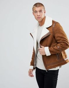 River Island Borg Lined Jacket In Tan