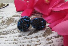 GALAXY / RAW Cobalt Blue Rainbow Titanium Flame Aura Druzy Quartz Crystal Gemstone Stud Earrings Sterling Silver, Astral, Holographic. $26.00, via Etsy.