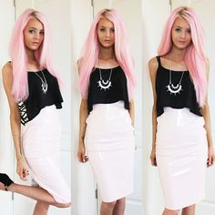 Kirsty Mooney - Topshop Necklace, Missguided Pink Pvc Skirt, Missguided Black Cami Top - Pink PVC