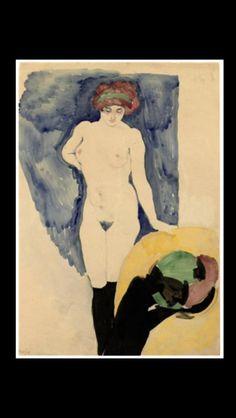 "Jan Sluijters- "" Standing nude "" - Chalk And watercolor on paper - 65 x 44 cm"