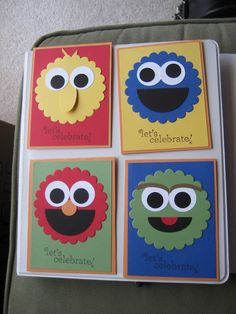 Very Cute Kids Cards, Sesame Street, Big Bird, Oscar, Elmo, Cookie Monster, scallop punch, circle punch, could be one card or four small cards