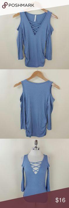 Lace up cold shoulder top Lace up cold shoulder top 95% rayon 5% spandex Tops