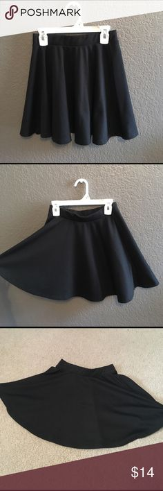 Black Skater Skirt Cute black skater skirt, can easily be dressed up or dressed down. Brand is ambiance apparel. Elastic waistband. 76% polyester, 19% rayon, 5% spandex. Used but in good condition. No trades. No holds. Serious inquiries only. Ambiance Skirts Circle & Skater