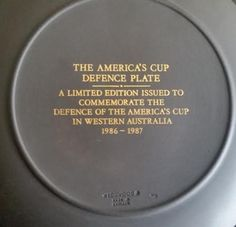 "RARE-WEDGWOOD-JASPERWARE-THE-AMERICAS-CUP-DEFENCE-PLATE-DISH-LIMITED-EDITION. 6.5""in diameter."