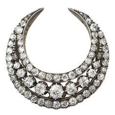 Antique 1880s Diamond Crescent Brooch | 1stdibs.com