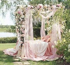 This bedding arrangement is perfect for a Sleeping Beauty theme or a Wedding anniversary. I would love to be with my beloved or babies for great pictures. Feels like a Royal setting. And very romantic at the same time. Guest would love to take pictures in this setting. Timeless...